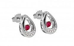 Náušnice s rubínmi a briliantmi 0.040 ct Dancing Rubies white KU570AR