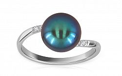 Perlový prsteň so zirkónmi Leffi blue IZ8110A