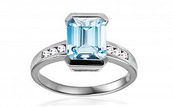 Prsteň s akvamarínom a diamantmi Idaline IZBR281