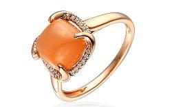 Prsteň s briliantmi a oranžovým mesačným kameňom IZBR120R