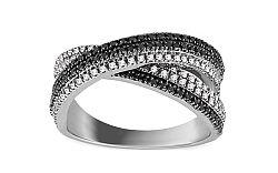 Prsteň s čiernymi diamantmi Elicia KU546A
