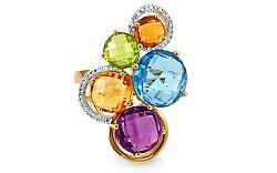 Prsteň s drahými kameňmi a diamantmi Dayana IZBR283