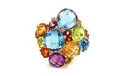 Prsteň s drahými kameňmi a diamantmi Moyna IZBR277