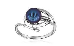Prsteň s modrastou perlou Inez 5 white IZ6045