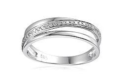 Prsteň z bieleho zlata s diamantmi Tria IZBR315A