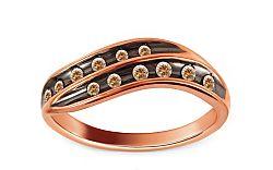 Prsteň z ružového zlata s briliantmi KU368R