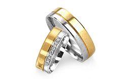 Romantické obrúčky z bielo žltého zlata s kamienkami RYOB037