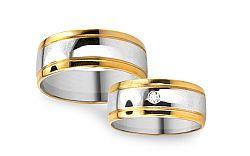 Romantické obrúčky z bielo žltého zlata s kamienkom RYOB040