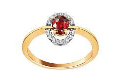 Rubínový prsteň s diamantmi 0,112 ct Brienne 4 KU0002