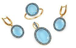 Súprava s topásmi a modrými diamantmi Giovanna KU463S
