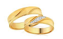 Svadobné obrúčky dvojfarebné s kamienkami šírka 5 mm IZOB678