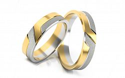 Svadobné obrúčky dvojfarebné šírka 4 mm STOB055-4