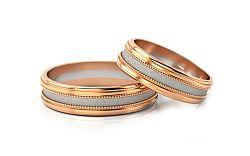 Svadobné obrúčky dvojfarebné šírka 4 mm STOB142-4R