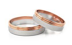Svadobné obrúčky dvojfarebné šírka 5 mm STOB088R