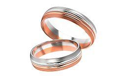 Svadobné obrúčky dvojfarebné šírka 5 mm STOB251R