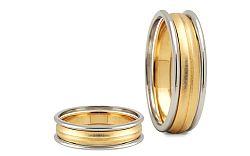 Svadobné obrúčky dvojfarebné šírka 6 mm STOB012-6