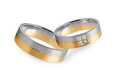 Svadobné obrúčky dvojfarebné so zirkónmi šírka 4 mm STOB232