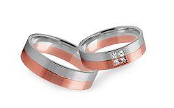 Svadobné obrúčky dvojfarebné so zirkónmi šírka 4 mm STOB232R