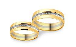 Svadobné obrúčky dvojfarebné zaoblené s gravírom šírka 5 mm CSOB120