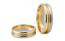 Svadobné obrúčky dvojfarebné zlaté šírka 6 mm STOB188