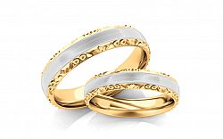 Svadobné obrúčky dvojfarebné zlato šírka 3 mm STOB099-3