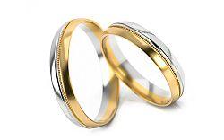 Svadobné obrúčky dvojfarebné zlato šírka 4 mm STOB253