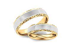 Svadobné obrúčky dvojfarebné zlato šírka 5 mm STOB099-5