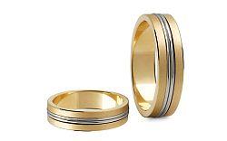 Svadobné obrúčky dvojfarebné zlato šírka 5 mm STOB148