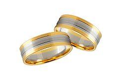Svadobné obrúčky dvojfarebné zlato šírka 5 mm STOB231