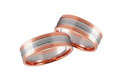 Svadobné obrúčky dvojfarebné zlato šírka 5 mm STOB231R