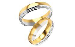 Svadobné obrúčky dvojfarebné zlato šírka 5 mm STOB254