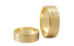 Svadobné obrúčky dvojfarebné zlato šírka 6,5 mm STOB153