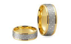 Svadobné obrúčky dvojfarebné zlato šírka 6,5 mm STOB165