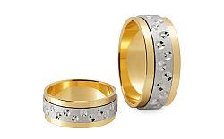Svadobné obrúčky dvojfarebné zlato šírka 7,5 mm STOB149
