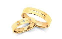 Svadobné obrúčky s diamantmi 0,040 ct šírka 4 mm STOBR222Y