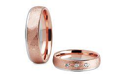 Svadobné obrúčky s diamantmi 0,060 ct ružové zlato šírka 5 mm STOBR264