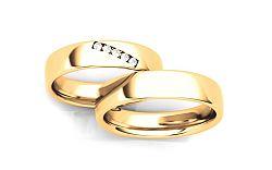 Svadobné obrúčky s diamantmi 0,075 ct šírka 4,6 mm STOBR270