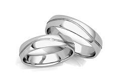 Svadobné obrúčky s diamantom 0,015 ct a vlnkou šírka 6 mm STOBR286A