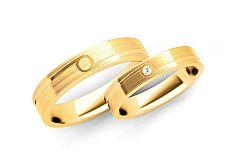 Svadobné obrúčky s diamantom 0,015 ct šírka 4 mm STOBR207
