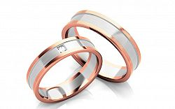 Svadobné obrúčky s diamantom 0,020 ct šírka 5 mm STOBR226R