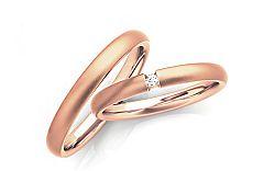 Svadobné obrúčky s diamantom 0,030 ct šírka 3 mm STOBR260R