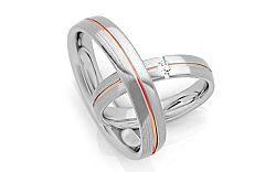 Svadobné obrúčky s diamantom 0,040 ct šírka 4 mm STOBR267R