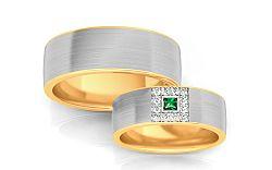 Svadobné obrúčky so zeleným zirkónom šírka 6,6 mm STOB243