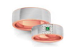 Svadobné obrúčky so zeleným zirkónom šírka 6,6 mm STOB243R