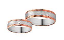 Svadobné obrúčky z bieleho a ružového zlata s kamienkom RYOB023