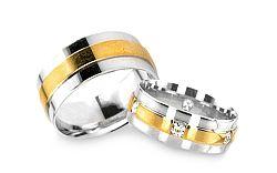 Svadobné obrúčky z bielo žltého zlata s kamienkami RYOB129