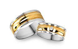 Svadobné obrúčky z bielo žltého zlata s kamienkom RYOB032
