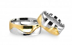 Svadobné obrúčky z bielo žltého zlata so zirkónom RYOB003
