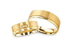 Svadobné obrúčky zo žltého zlata so zirkónmi RYOB136
