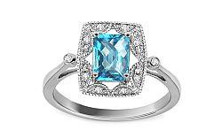 Topásový prsteň z bieleho zlata a diamantmi Teresa KU532A